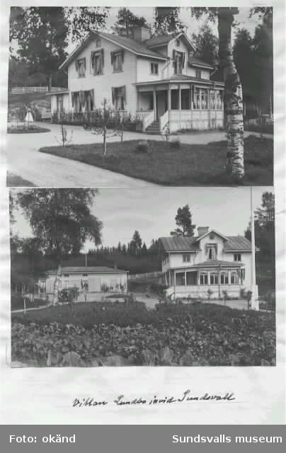 """John af Sandebergs sommarvilla, Villa Lundbo """"invid Sundsvall"""", på sluttningen av den vackra Selångersdalen""""."""