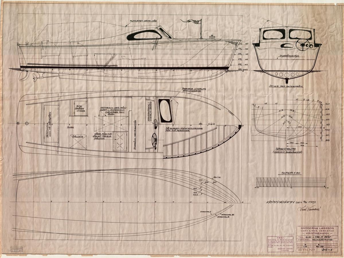 Spantruta, linjeritning, inredningsrinting i profil, plan och sektion