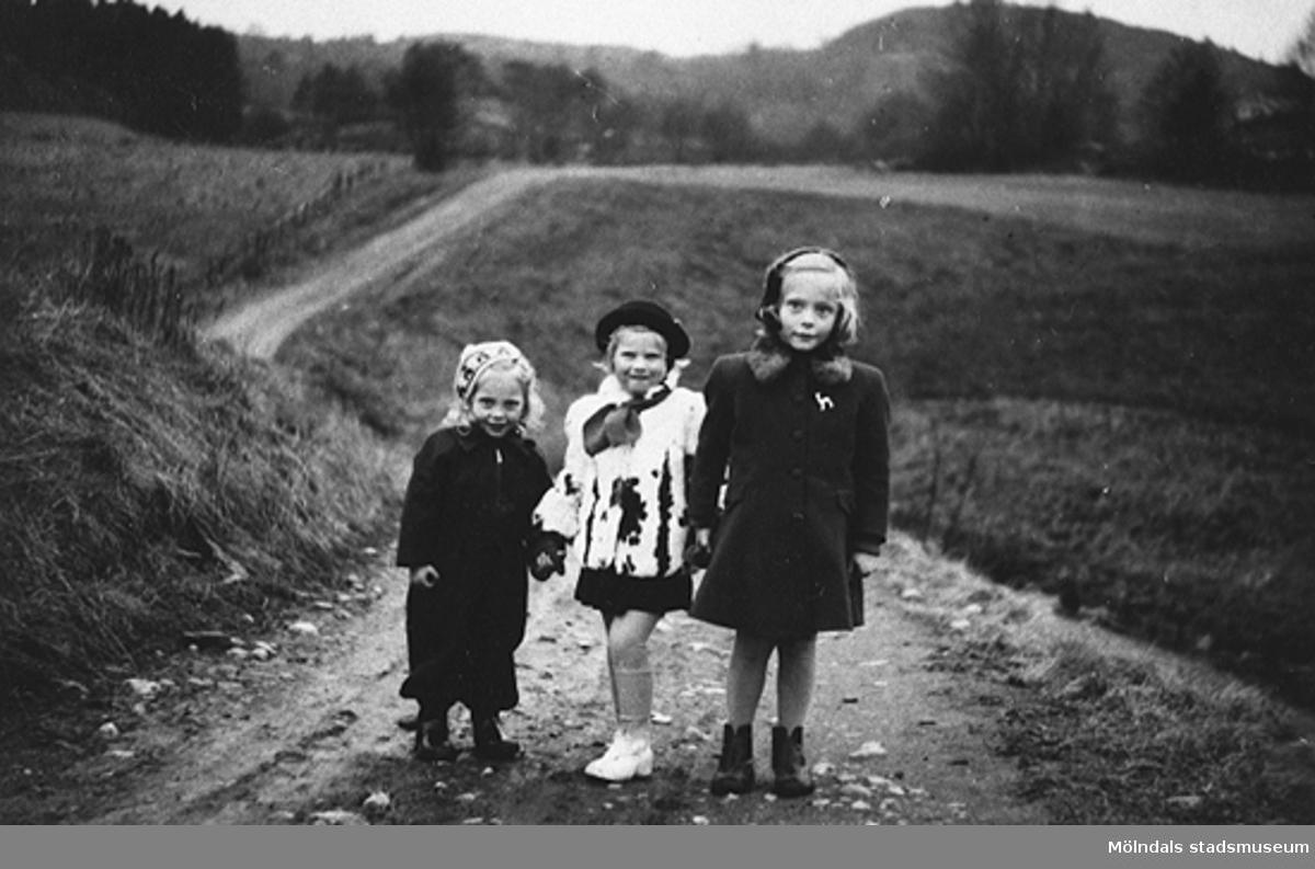 Promenad i Alvered 1950. Längst bort i dalen, i den gamla älvbrinken.Barnen är: Karin Petersson (gift Hansson), Gerd och Eva Pettersson.