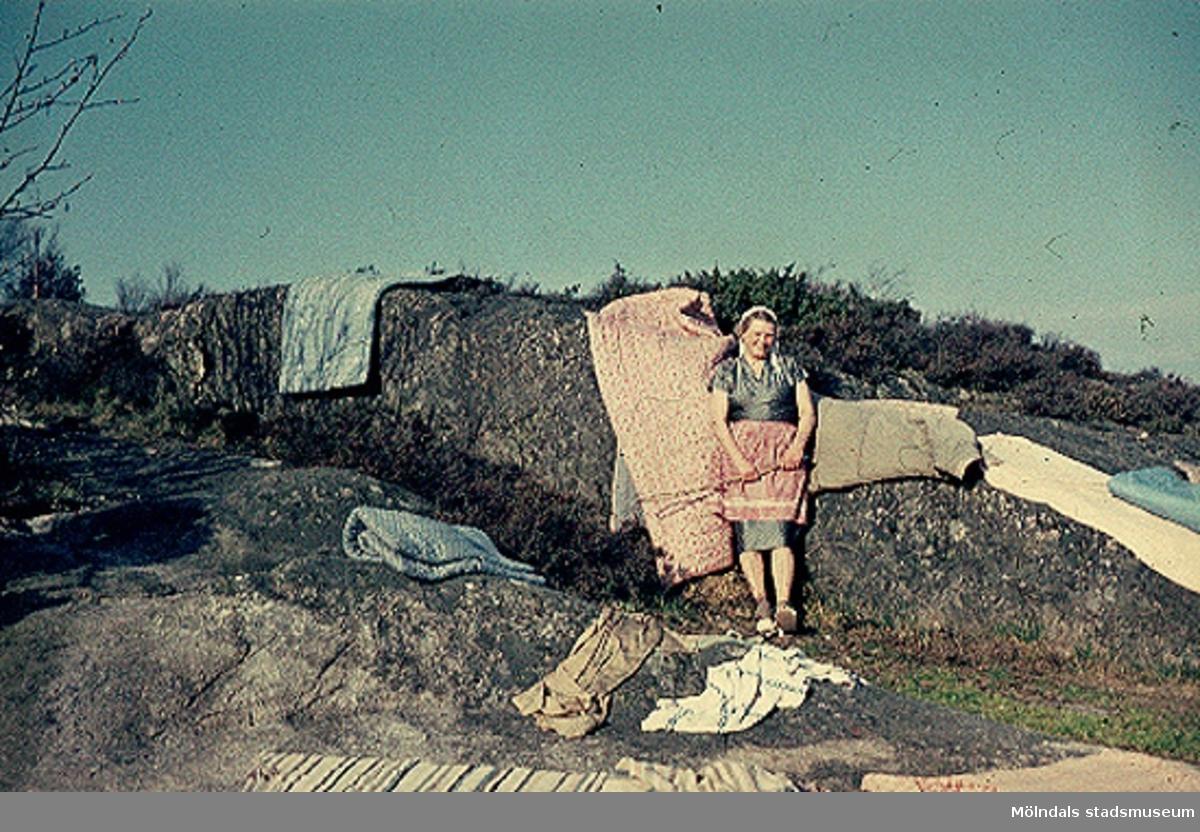 Greta eller Karin Gustafsson skakar mattor vid sommarstugan på Valebergsvägen i Näset, 1957.