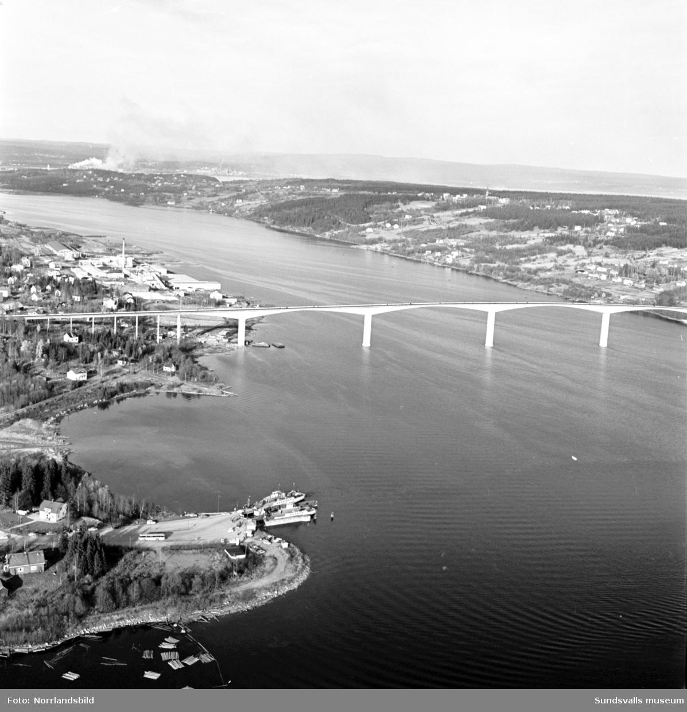 Flygfoton över den nybyggda Alnöbron.