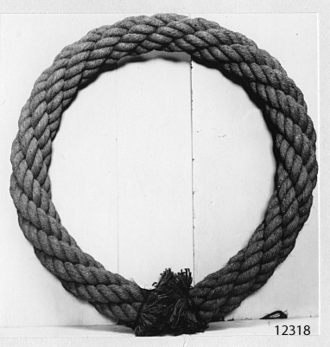 Kabel, 4-slagen, av kokos. Från 1900-talet.