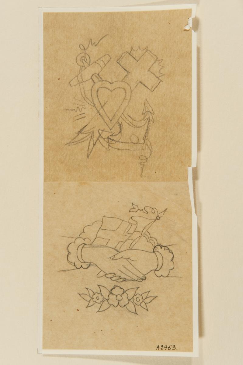 Tatueringsförlaga. Två olika motiv 1. Ett hjärta framför ett korsat ankare och kors. 2. Två händer i ett handslag framför en flagga och ett moln. Därunder en blomstergirland.
