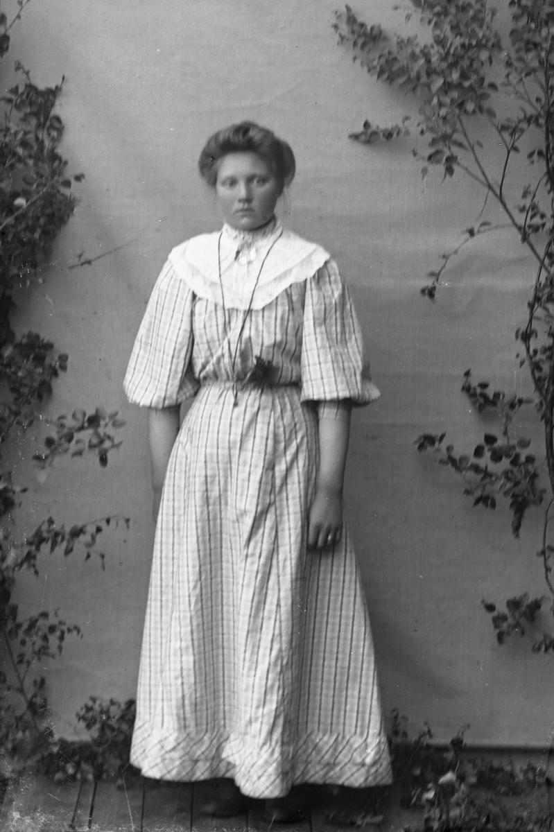 Kvinne i hvit kjole, lerretbakgrunn og bjørkekvister.