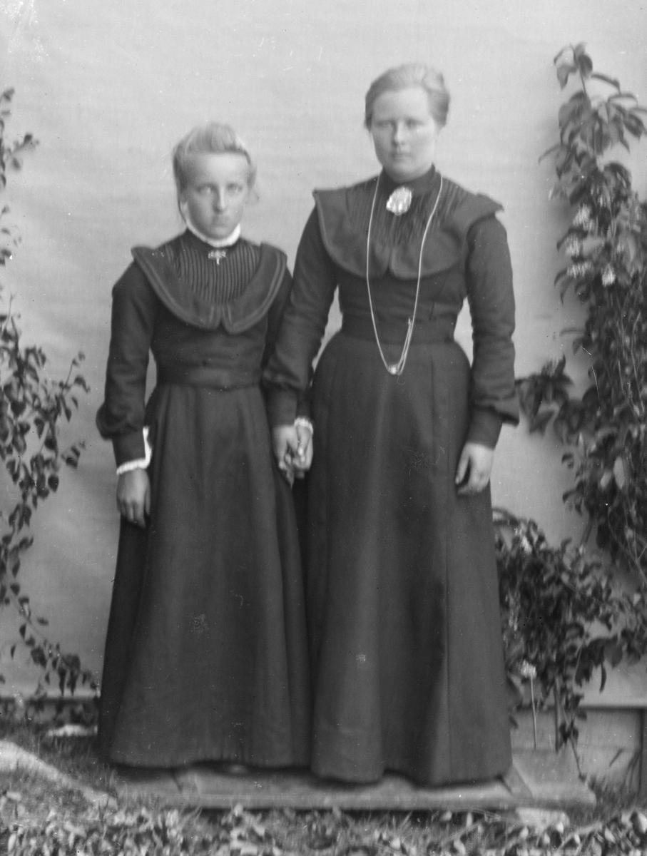 Voksen kvinne og ung jente kledd i mørke kjoler. Holder hverandre i hånda og fotografert i helfigur, med bjørkekvister foran hvitt lerret på husvegg