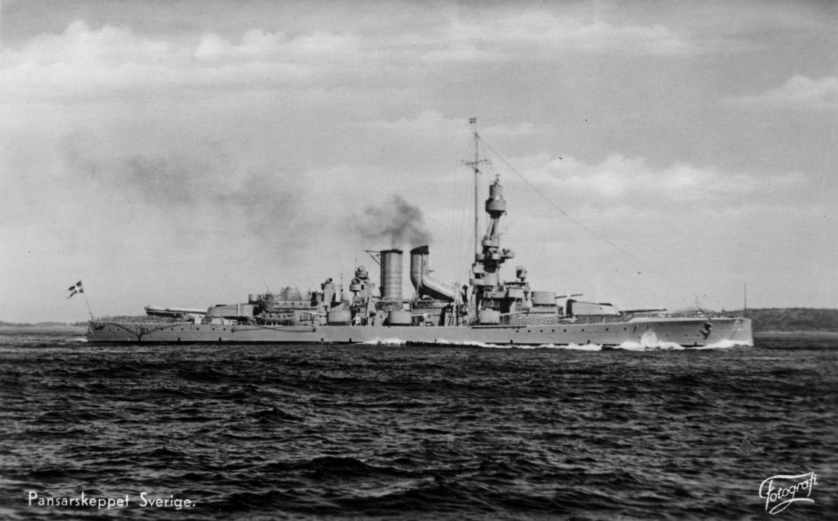 Fartyg: SVERIGE                         Rederi: Kungliga Flottan, Marinen Byggår: 1917 Varv: Götaverken, Göteborgs MV Övrigt: Pansarskeppet Sverige