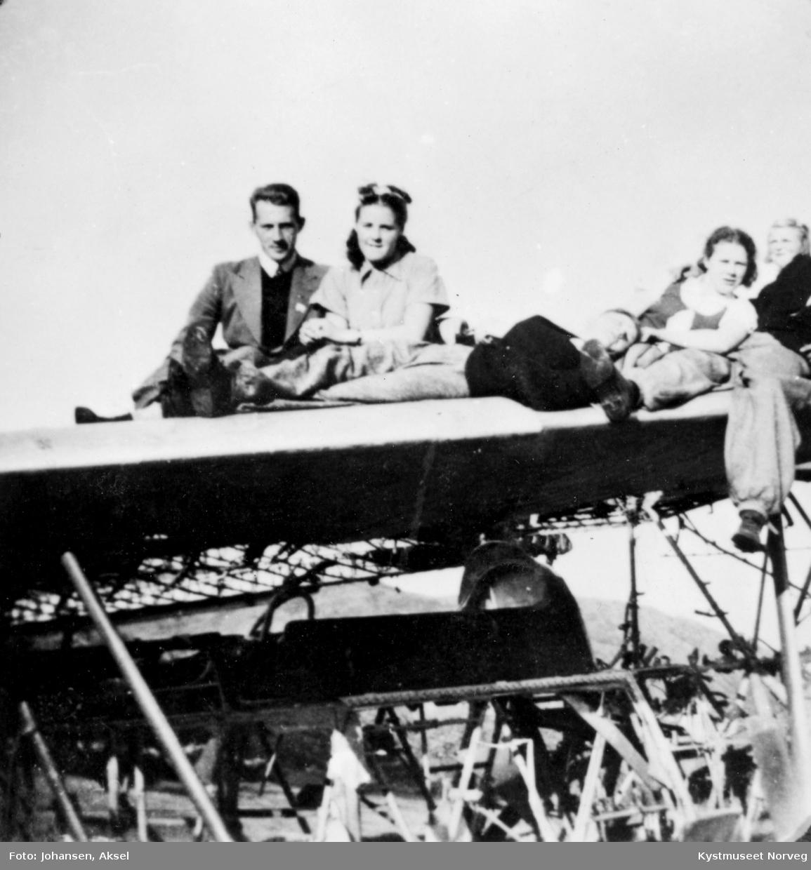 Roald Søraunet, Aud Furre, Ellen Hemmingsen, Herbjørg Thorsvik og Johs Furre. Nødlanding - engelsk fly på Haug, Leka