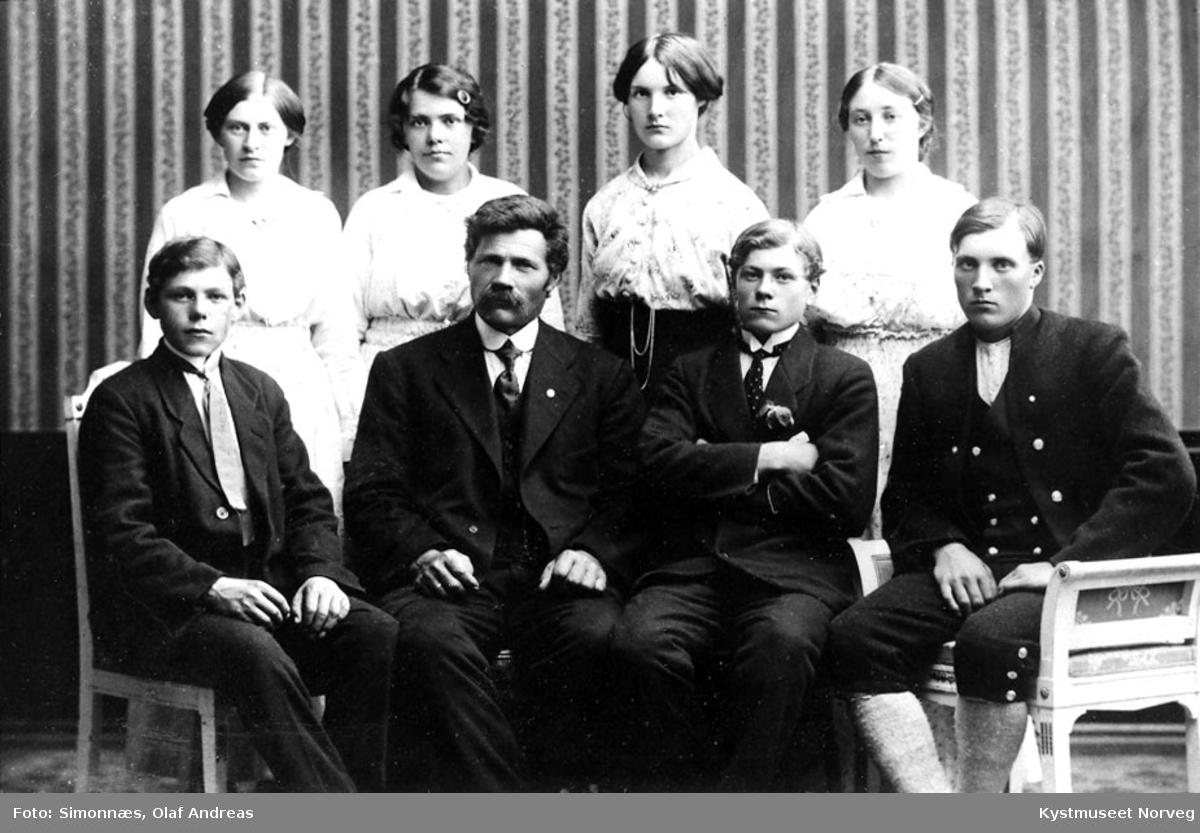 Bak fra venstre: Anna Valø Henrikøy, Pauline Wikdahl Saurtrø, Pauline Holum, Selma Valø. Foran fra venstre: Daniel Wigdahl, Ole Wigdahl, Ole Wigdahl, Haldor Wigdahl og Odin Holum