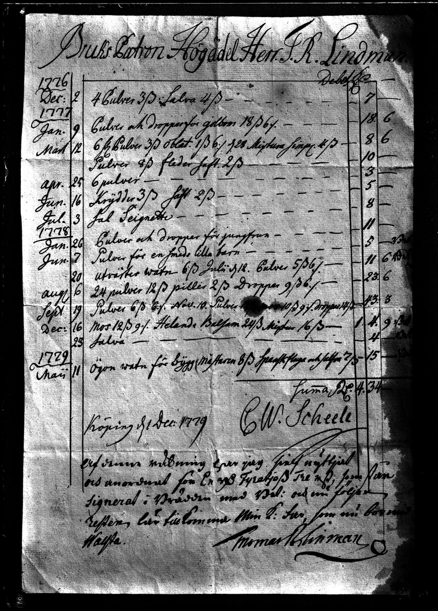 C W Scheele, Apoteksräkning 1779. Fotograf: E Sörman.