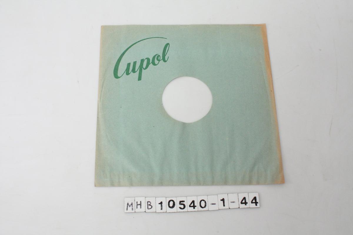 Papiromslag for grammofonplater. Grønt med grønn skrift.