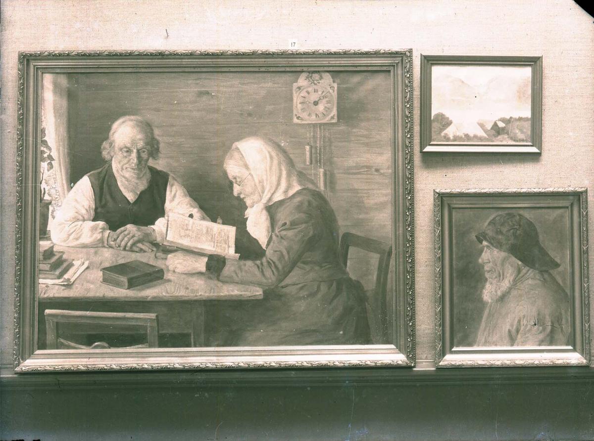 Fotografi av 3 malerier.