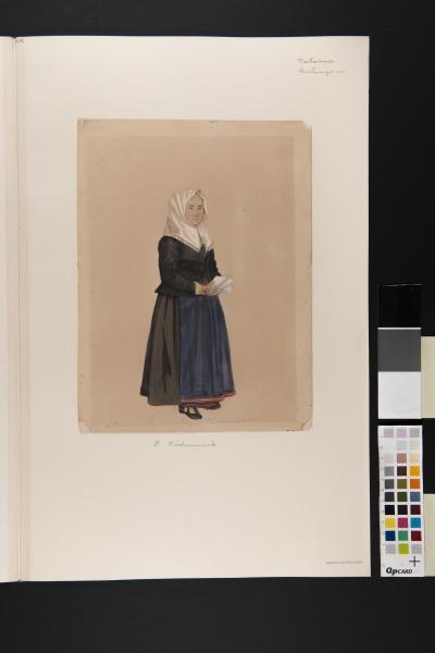 """""""Malung,  Kyrkdrägt"""" Kvinna i kyrkdräkt. Akvarell av P Södermark 1850."""