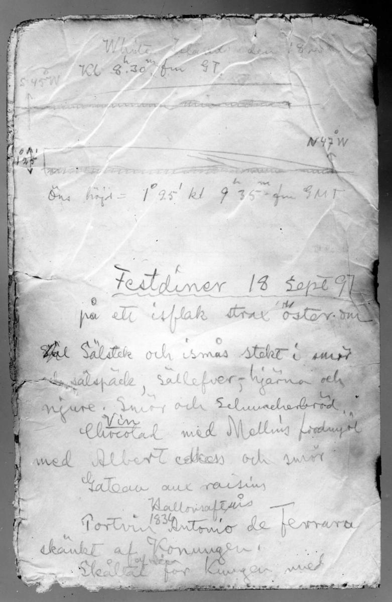 Meny i samband med Kung Oscar II 25-årsjubileum, i N Strindbergs andra observationsbok 18 sept 1897.