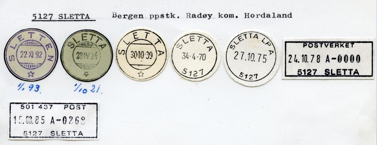 Stempelkatalog  5127 Sletta, Radøy kommune, Hordaland