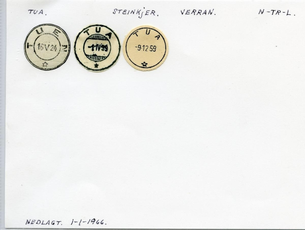 Stempelkatalog Tua (Tuen), Steinkjer, Verran, Nord-Trøndelag