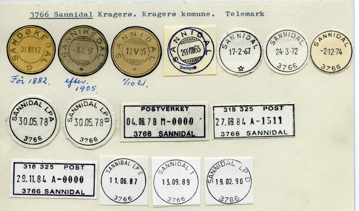 Stempelkatalog  3766 Sannidal, Kragerø kommune, Telemark (Sandøkedal 1882, Sannikedal 1905)