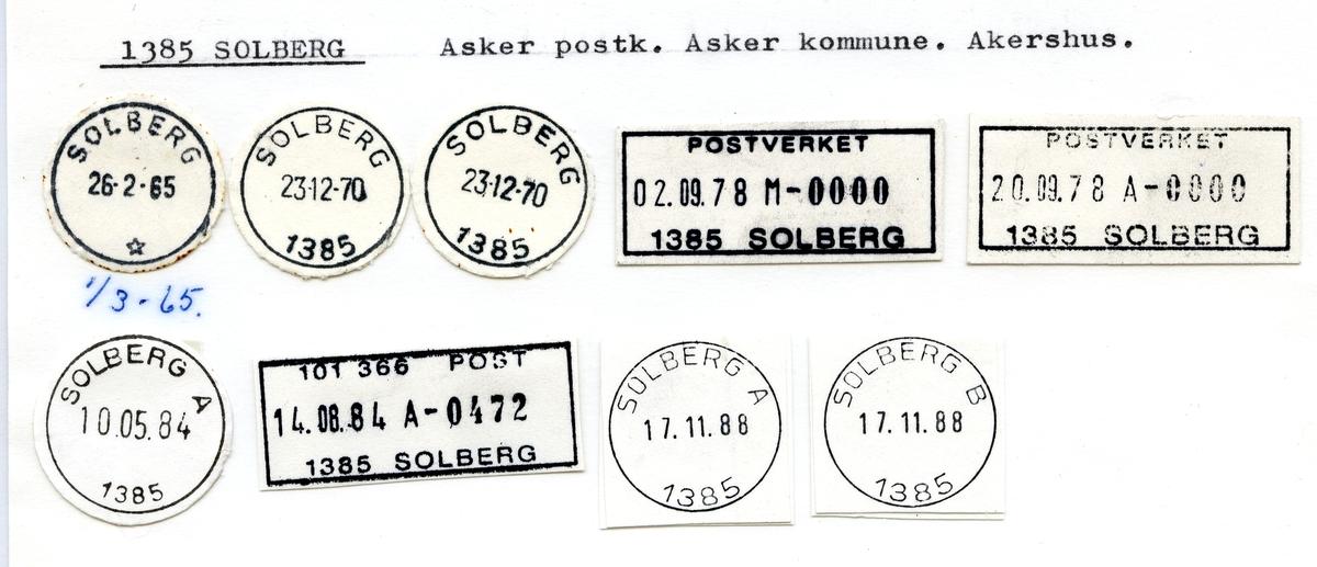 Stempelkatalog  1385 Solberg, Asker kommune, Akershus