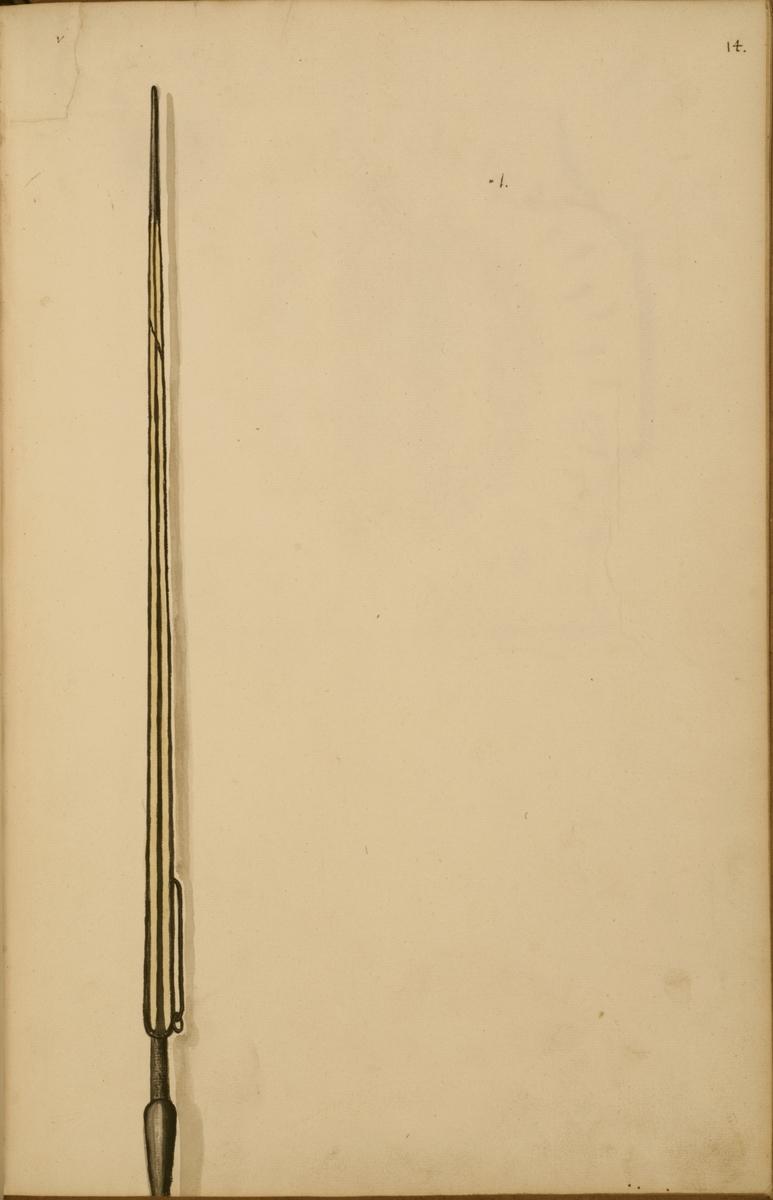 Avbildning i gouache föreställande fälttecken taget som trofé av svenska armén. Den avbildade standarstången finns inte bevarad i Armémuseums samling.
