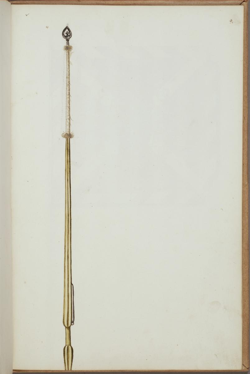 Avbildning i gouache föreställande fälttecken taget som trofé av svenska armén. Den avbildade standarstången finns bevarad i Armémuseums samling, för mer information, se relaterade objekt.
