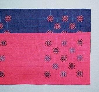 """Två jullöpare och två dukar. Samma mönster men i olika kombinationer och färgställningar. Kulörta stjärnor, linjer i samma färg som linnet. I en pärm märkt """"Handarbeten som utgått"""" inventerad 2013 finns två lappar: """"EVA Jullöpare"""" Här anges             Material: Rött Dalalinne. Garn: Klippans lingarn 16/2  med färgnr.Här finns årtalen 1978 och 1990 samt priser som material: 83:-/88:- Modell: 280:-"""". WLHF-508:1 Jullöpare Eva. Blå linneväv, broderi i rött och blått. Mått: 220 x 830 mm. Del av löparen på andra bilden. WLHF-508:2 Jullöpare Eva. Röd linneväv, broderi i blått och rött lingarn. Mått: 210 x 850 mm. Del av löparen på andra bilden. Märkt med en lapp med texten: """"Jullöpare """"Eva"""" L11 Matr 44:- AEöf 11/78"""". WLHF-508:3 Duk Blåklint. Blekt/vit linneväv, broderi i rosa och blekt/vitt lingarn. Mått: 230 x 225 mm.På första bilden. WLHF-508:4 Duk Blåklint. Blekt/vit linneväv, broderi i blått och blekt/vitt lingarn. Mått: 290 x 300 mm.På första bilden. Rutmönster finns märkta """"Eva"""" respektive """"Blåklint"""", förvarade tillsammans med dukarna. Eva se även löpare WLHF 1378 samt broderiprov WLHF-480:4-5. Blåklint se även dukar WLHF-1379."""