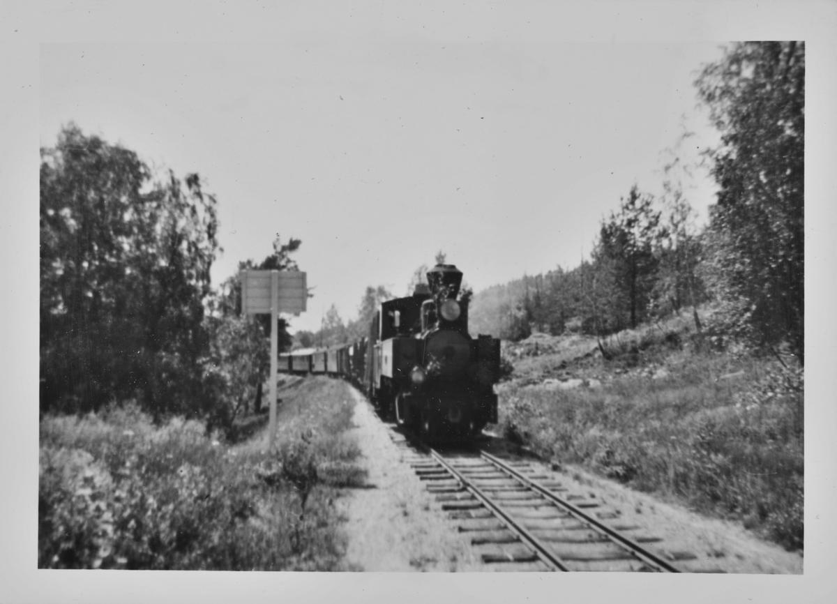 Tog retning Sørumsand trukket av damplokomotiv 7 PRYDZ like syd for Hornåseng stasjon.