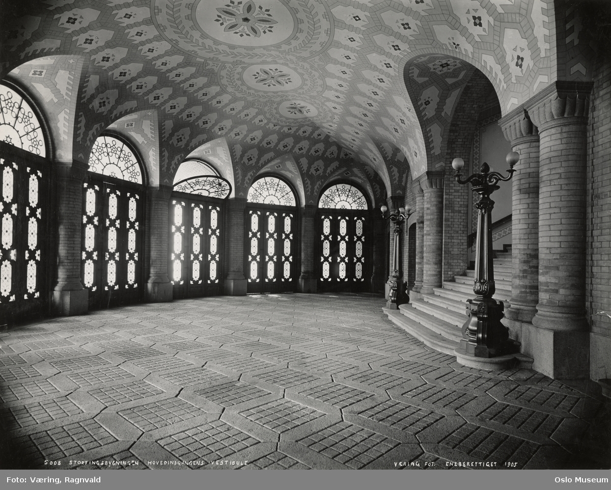 Stortingsbygningen, interiør, hovedinngang, vestibule