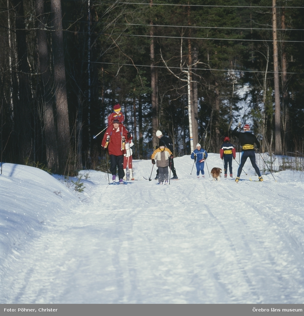 Ånnaboda,vinter,skidtur,barn och hund.Feb. 2001