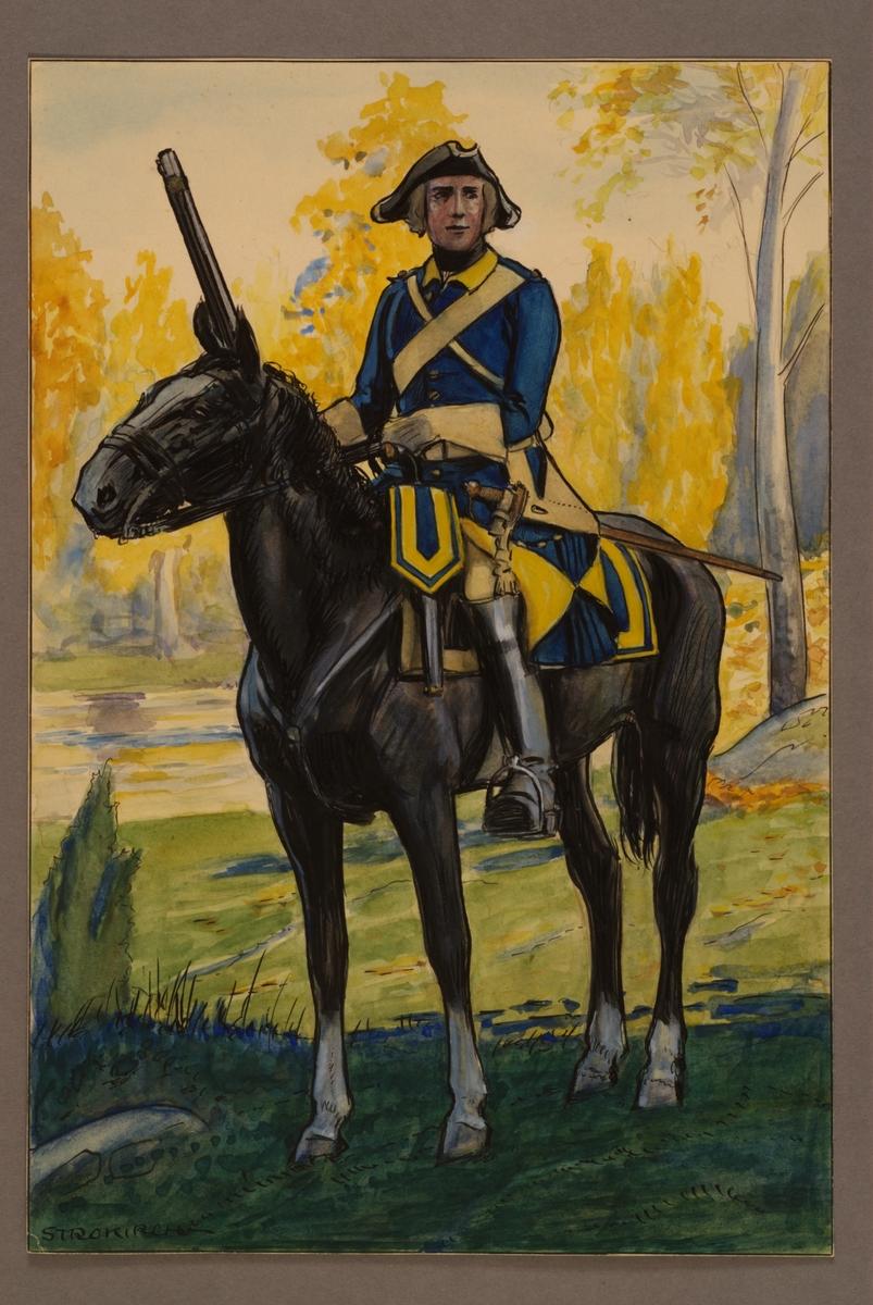 Plansch med uniform för ryttare vid Västgöta kavalleriregemente 1748, ritad av Einar von Strokirch.