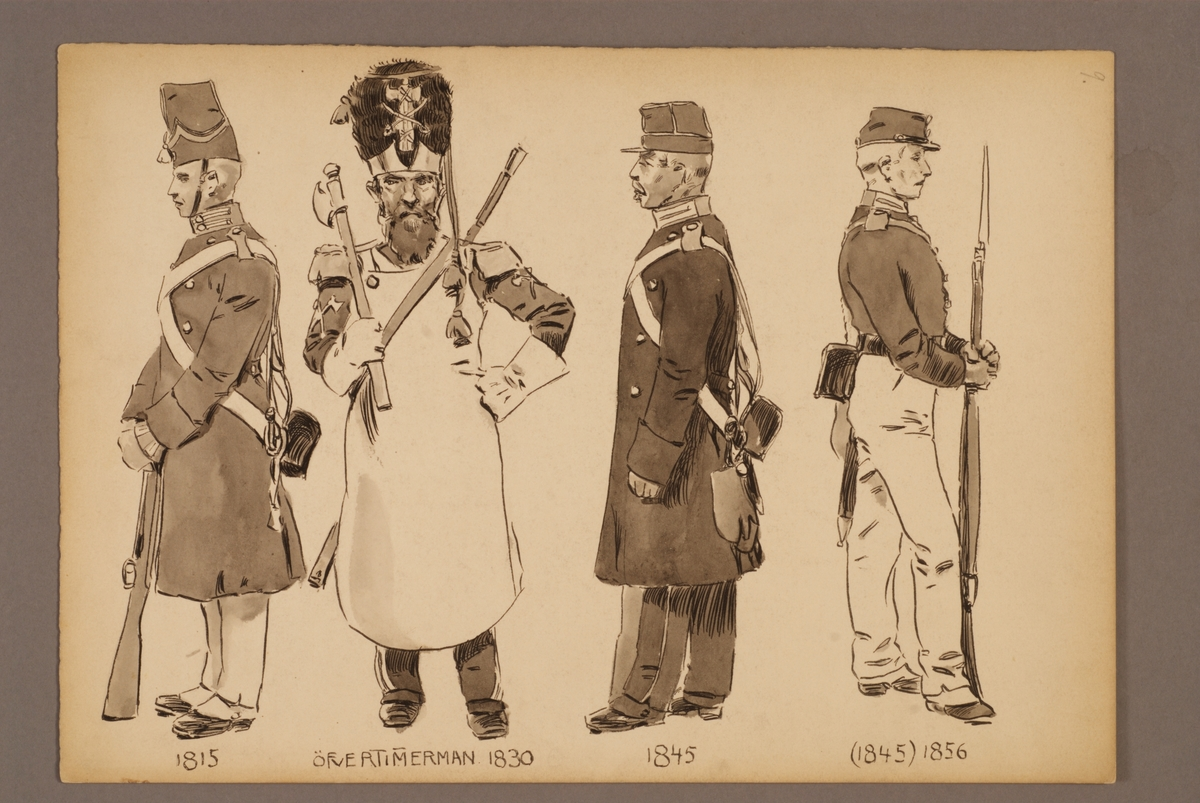 Plansch med uniform för Svea livgarde och Göta livgarde, ritad av Einar von Strokirch.