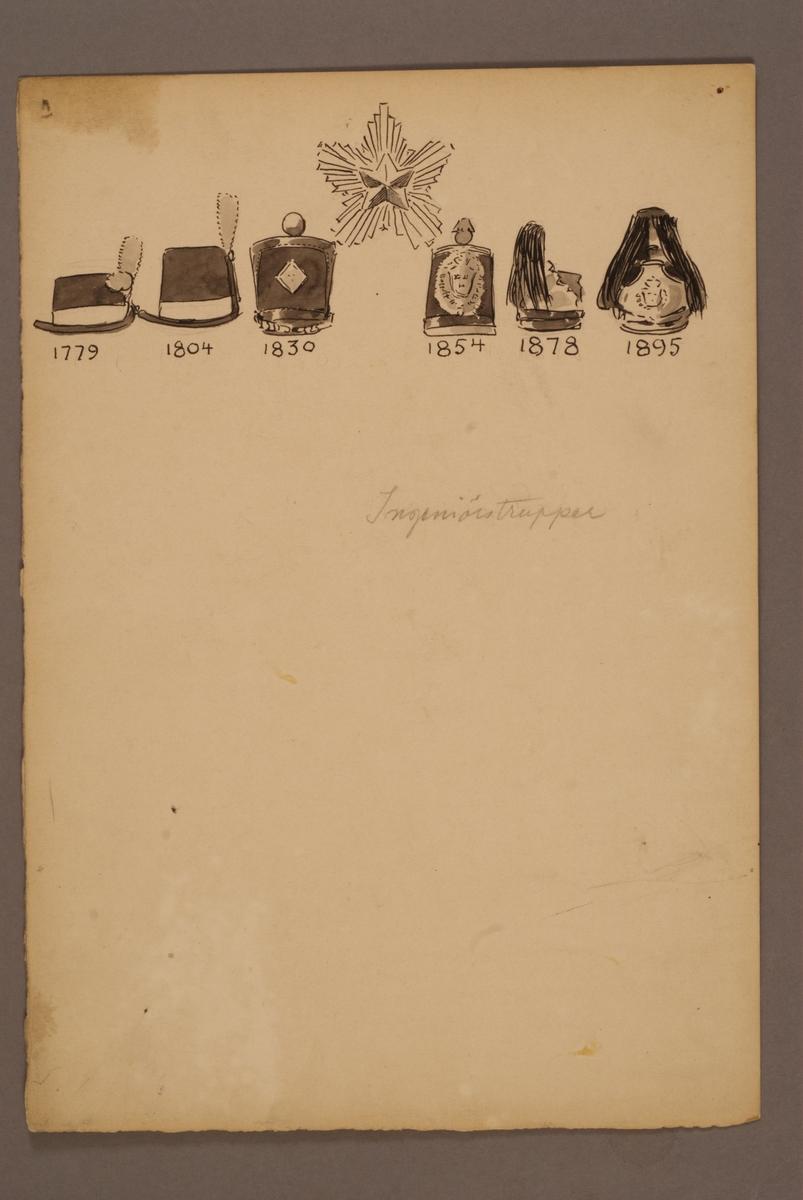 Plansch med huvudbonader för Ingenjörstrupper för åren 1779-1895, ritad av Einar von Strokirch.