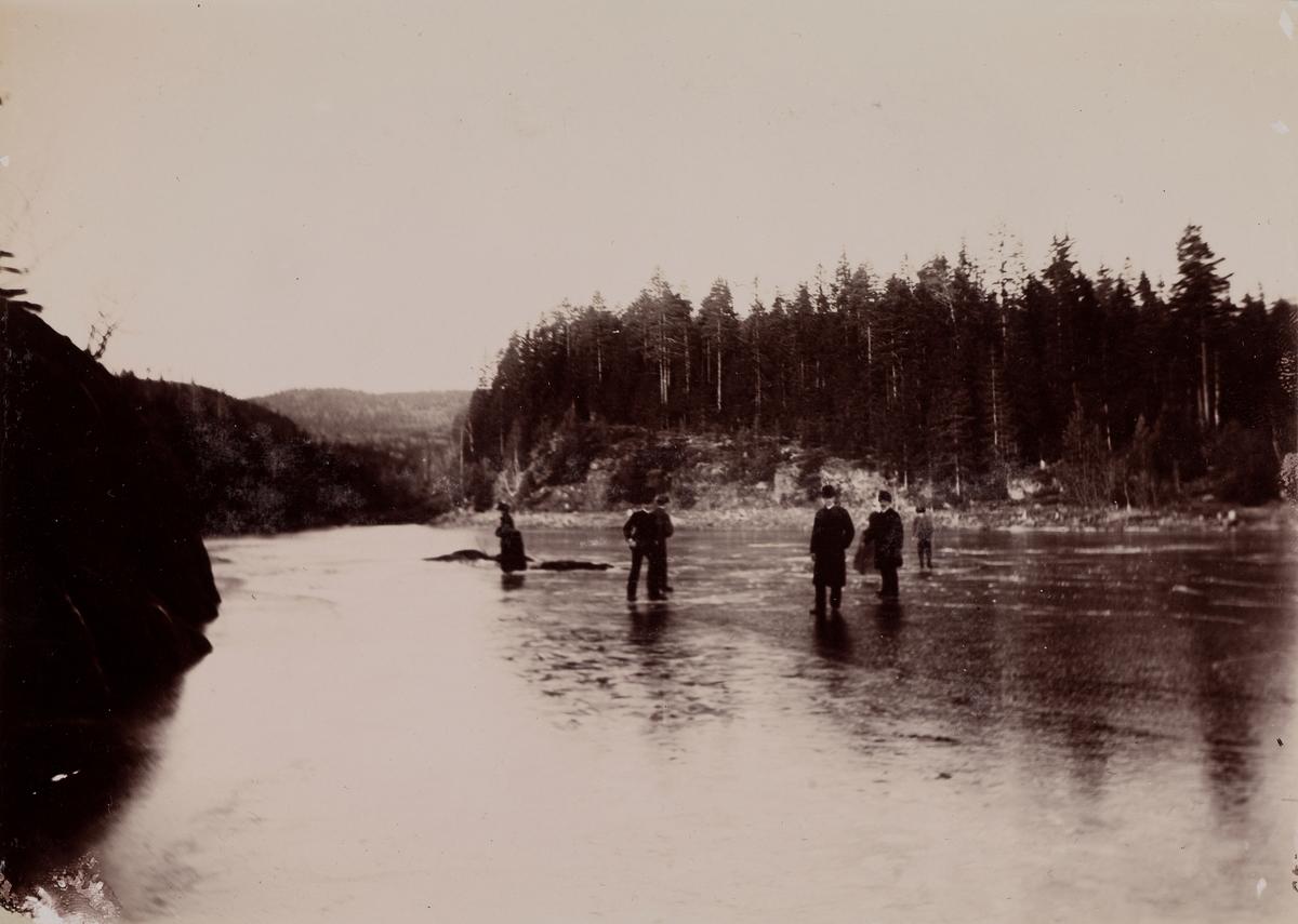 To damer og fem menn går over isen på Alunsjøen.