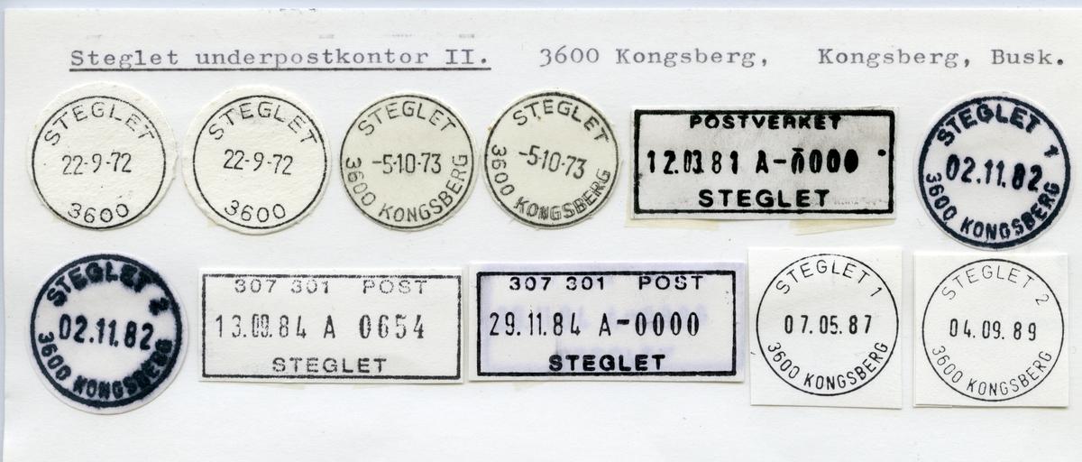 Stempelkatalog  Steglet, Kongsberg kommune, Buskerud