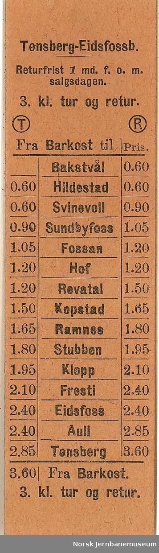 Billett fra Barkost til Tønsberg-Eidsfossbanens stasjoner, tur/retur, 3 klasse, ubrukt