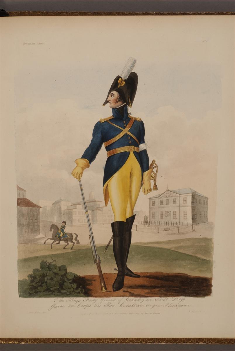 Plansch med uniform för Livdrabantkåren, ritad av Frederic Eben i boken The Swedish Army, utgiven 1808.