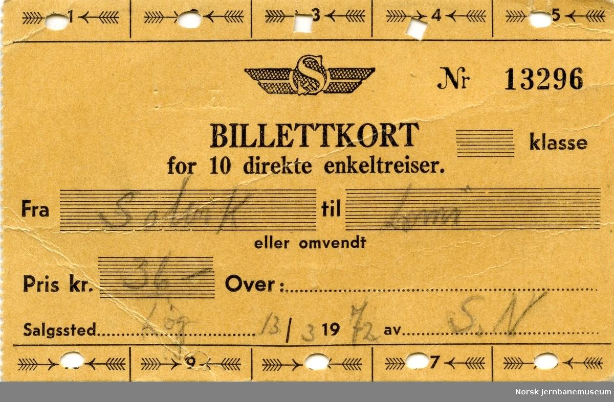 Billettkort for 10 direkte enkeltreiser Solvik-Lomi