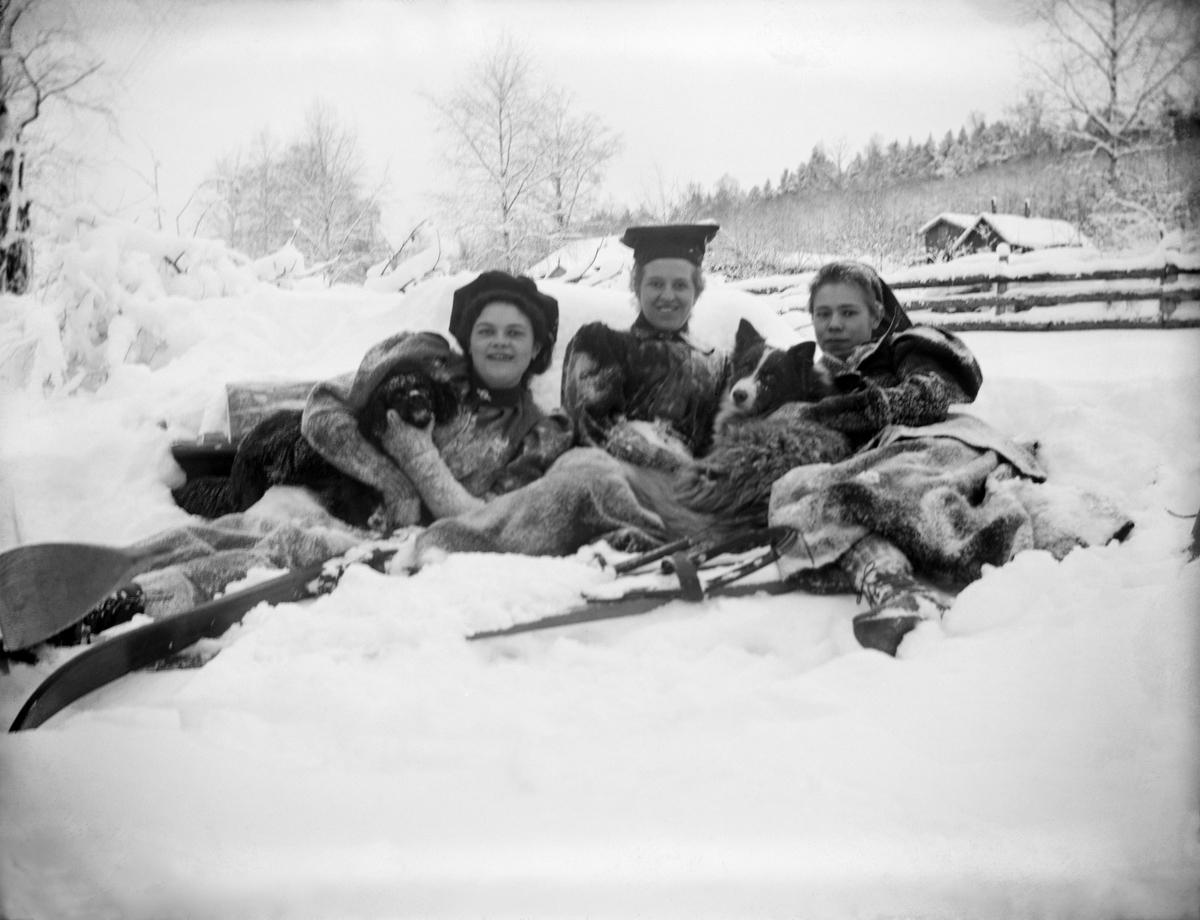 Tre kvinner og hunder ligger i snøen. To av dem er nevnt som fru Brun og frk. Bjerke