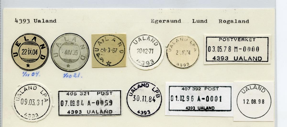 Stempelkatalog 4393 Ualand (Ueland), Egersund, Lund, Rogaland