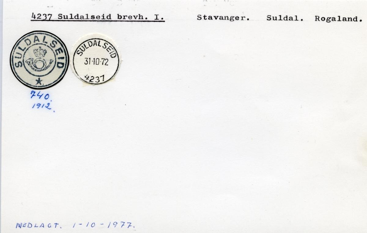 Stempelkatalog  4237 Suldalseid, Suldal kommune, Rogaland