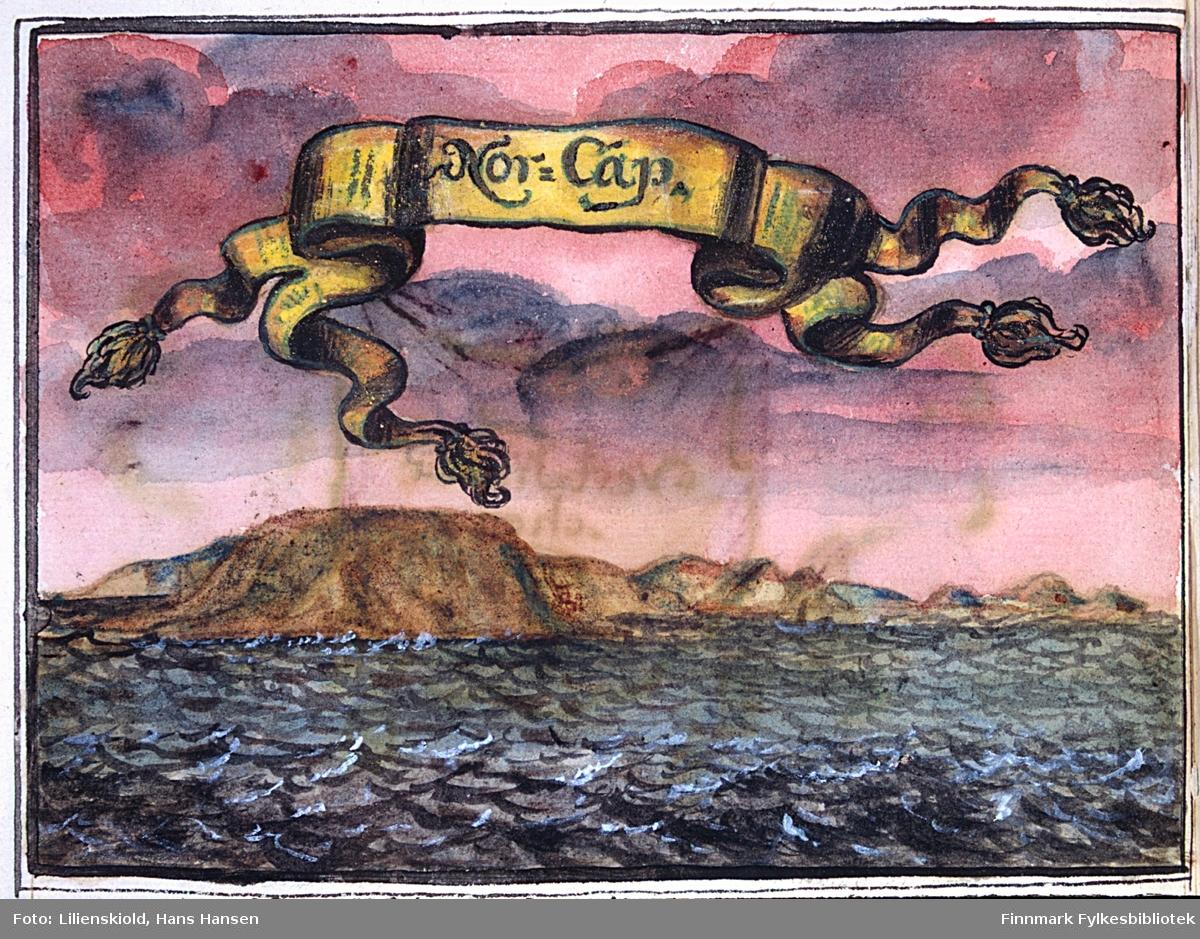 Nor-Cap. Illustrasjonen viser opprørt hav med et lite fartøy ved Nordkapp