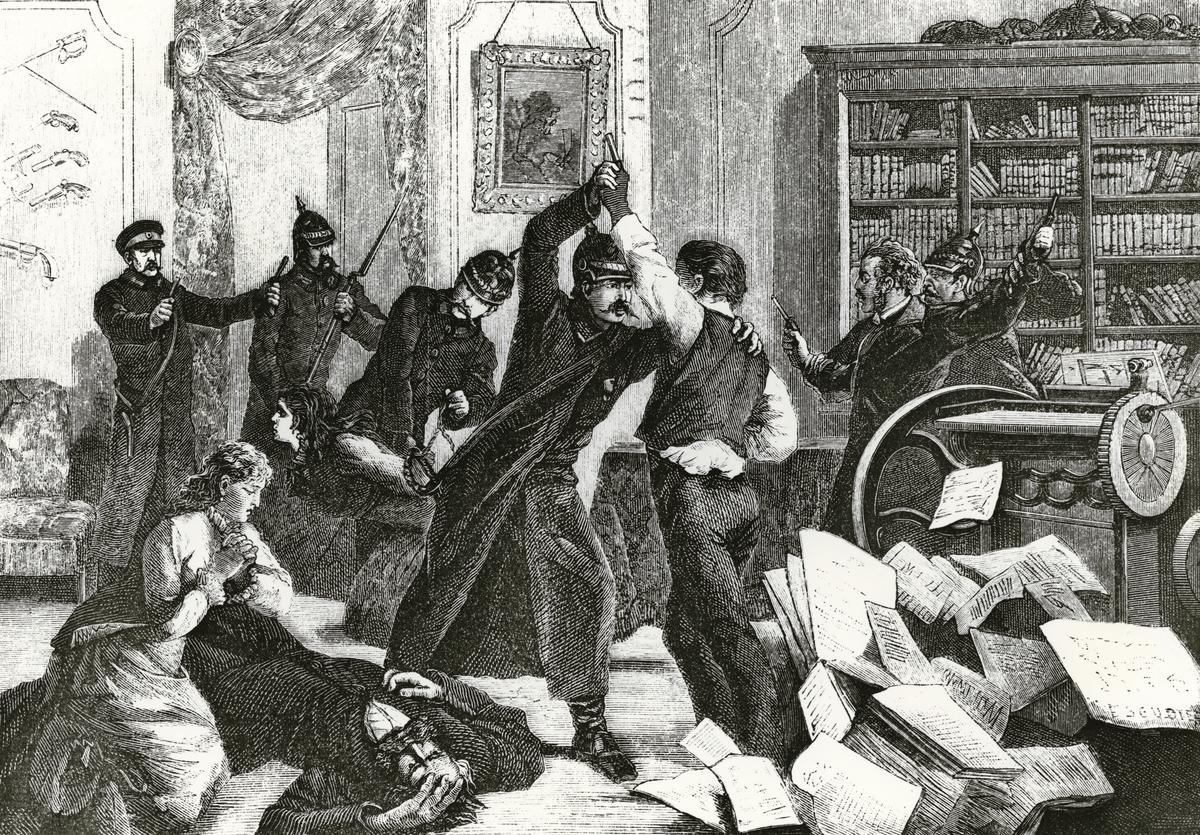 """Upptäckten af  Nihilisttidningen """"Folkviljans"""" tryckeri i S:t Petersburg natten mellan den 29 och 30 jan. 1880."""