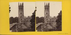 Stereobild av Magdalen Tower som hör till Magdalen College i