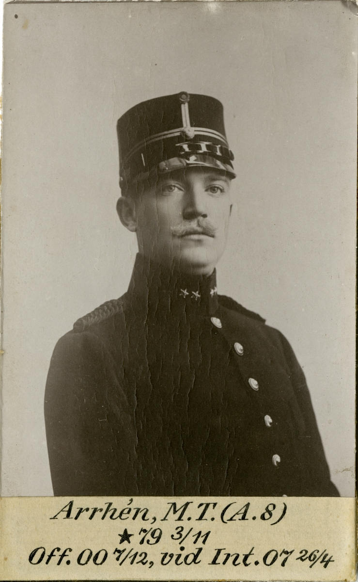 Porträtt av Magnus Teodor Arrhén, officer vid Artilleriregemente A 8 och Intendenturkåren.