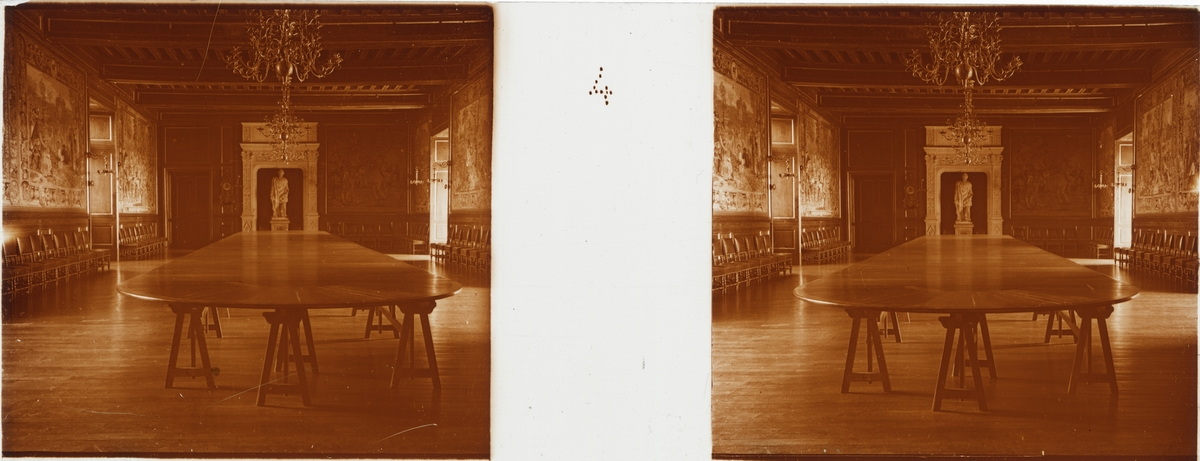 """Stereobild  av matsalen i Chateau de Pau. """"Salle à manger""""."""