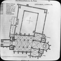 Skioptikonbild med motiv av ritning över Stiftskirche St. Pe