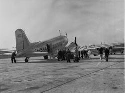 Start av ett ABA-Douglasplan fån Bromma på linjen till Moskv