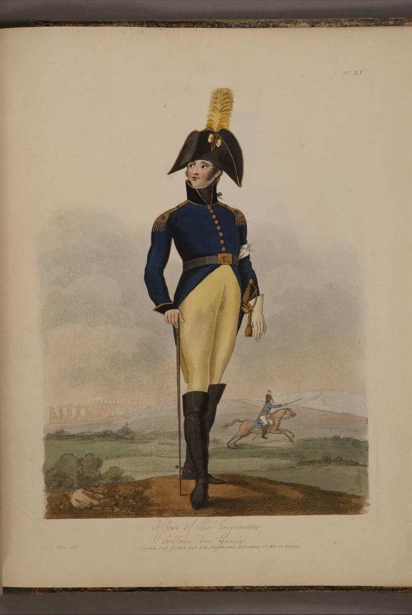 Plansch med uniform för Fortifikationen, ritad av Frederic Eben i boken The Swedish Army, utgiven 1808.