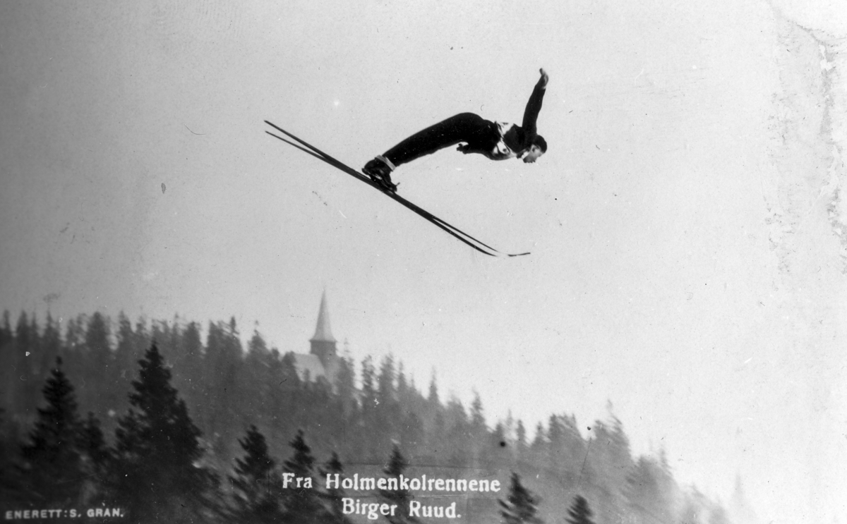 Birger Ruud in ski jump at Holmenkollen