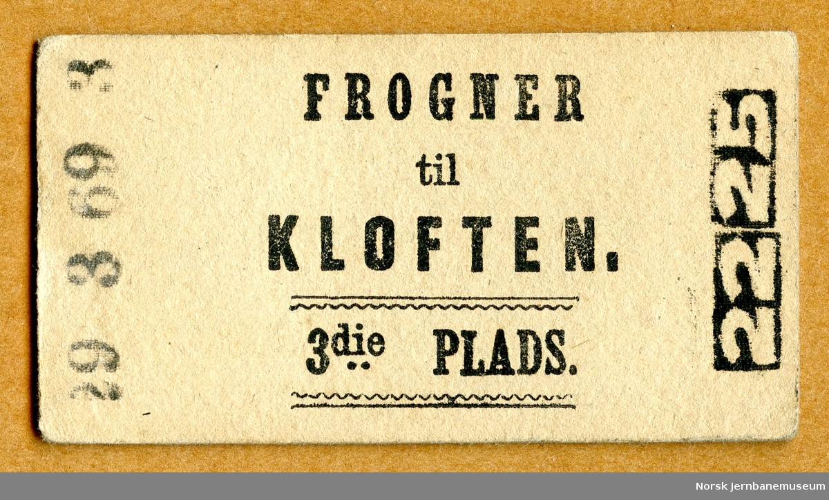 Billett Frogner-Kløften, 3die Plads