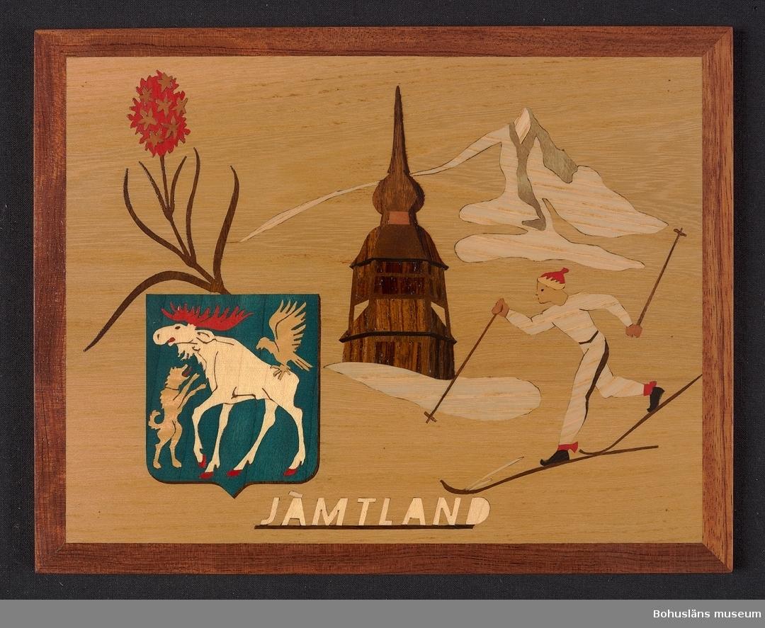 """Landskapstavla med namnet JÄMTLAND med landskapsvapnet,  en gående älg med en lyftande falk på ryggen och upprest hund.  Ikoniska motiv typiska för landskapet inlagda i intarsiateknik av fanér i olika ljusa och mörka träslag. Några mindre bitar är infärgade i blågrönt och rött. Lackad.  Motiven avbildar blommande brunkulla, klockstapeln från Håsjö, fjälltopp i Sylarna och skidlöpare. Intarsian är skuren så att träets naturliga mönster skickligt medverkar till och understryker motivens former och volymer.  Beskrivande etikett av papper på baksidan med texten: Landskapstavla """"JÄMTLAND"""". Motiv: Vapnet, Brunkulla, Håsjöstapeln, """"Templet"""" (topp i Sylmasivet), Skidlöpare.  Träslag: Alm, Ybam, Päron, Ask, Guarana, Padouk, Jakaranda, Grå björk, Lönn.  . Komponerat av: Konstnär B. Ekman. Tillverkad av: Bohus Intarsia, Uddevalla. På baksidan en upphängning."""