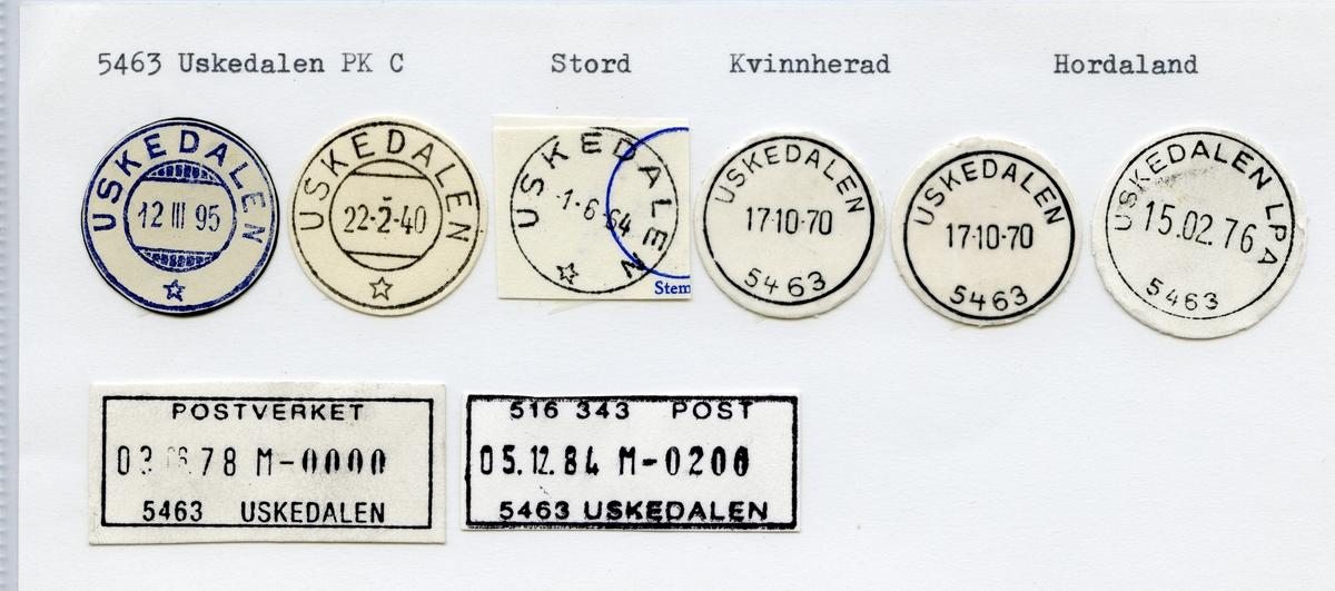 Stempelkatalog 5463 Uskedalen, Stord, Kvinnherad, Hordaland